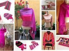 Pink alpaca knit clothing and accessories