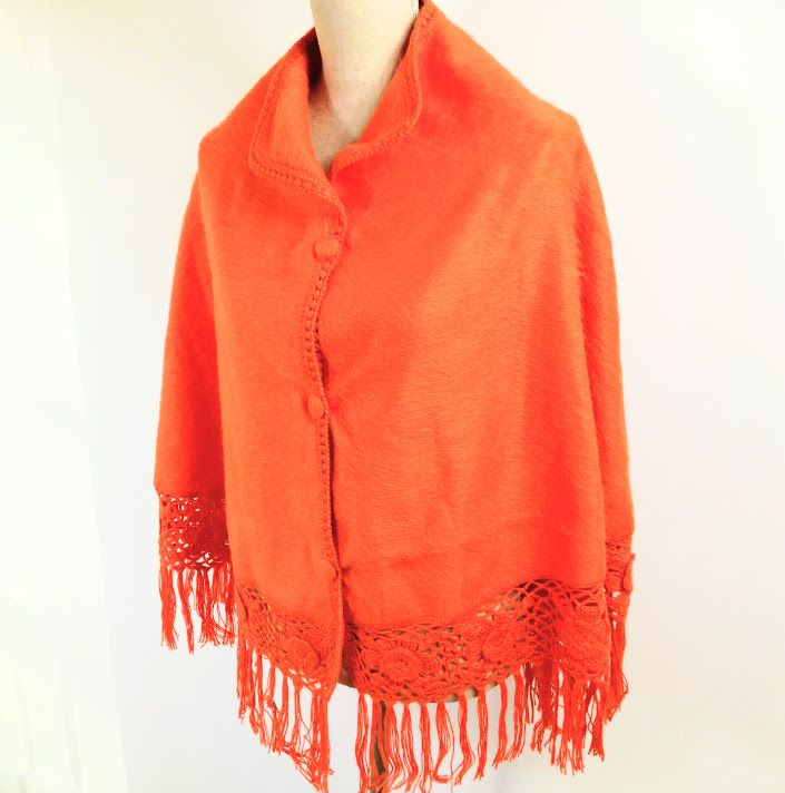 alpaca wol korte cape orange
